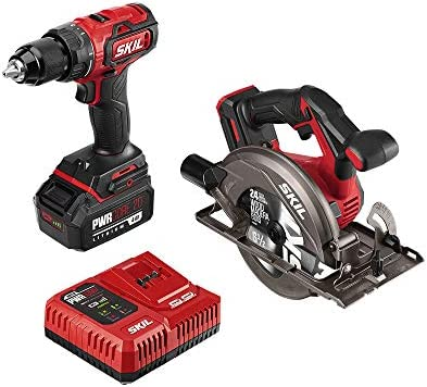SKIL 2-Tool Combo Kit PWRCore 20 Brushless 20V Cordless Drill Driver and Cordless Circular Saw, Includes 4.0Ah Lithium Battery and PWRJump Charger – CB743901