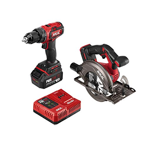 SKIL 2-Tool Kit: PWRCore 20 Brushless 20V Cordless Drill Driver and Cordless Circular Saw, Includes 4.0Ah Lithium Battery and PWRJump Charger - CB743901