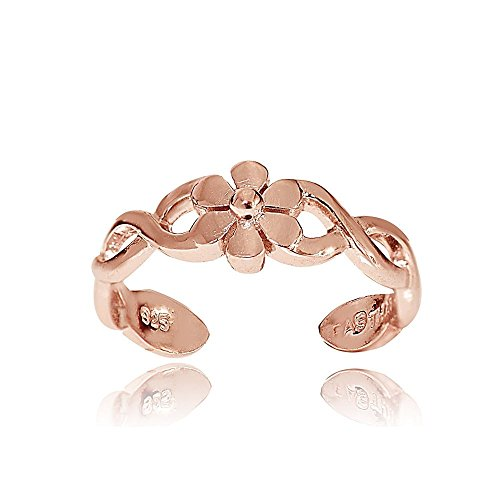 (Hoops & Loops Rose Gold Flash Sterling Silver Braided Daisy Flower Toe Ring)