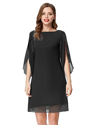 GRACE KARIN Women 3/4 Sleeve Chiffon Dress for Party Wedding Loose Casual Dress Black M ()
