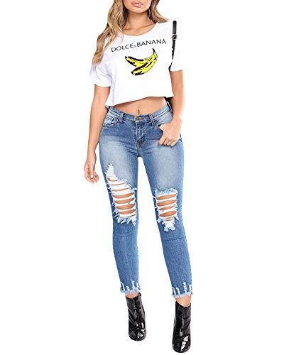 Pantalones Mujer Vaqueros Ocio Slim Fit Cintura Alta Elasticidad Jeans Rasgados Flaco Lápiz Pantalones Largos Azul Oscuro