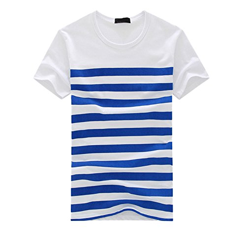 Mens V-neck Silk Sweater - Men's Classics Striped T Shirt Crew Neck Short Sleeve Summer Casual Pullover Tee Top (M, Blue)