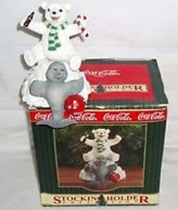 Coca Cola Christmas Stocking Holder Bear and Seal