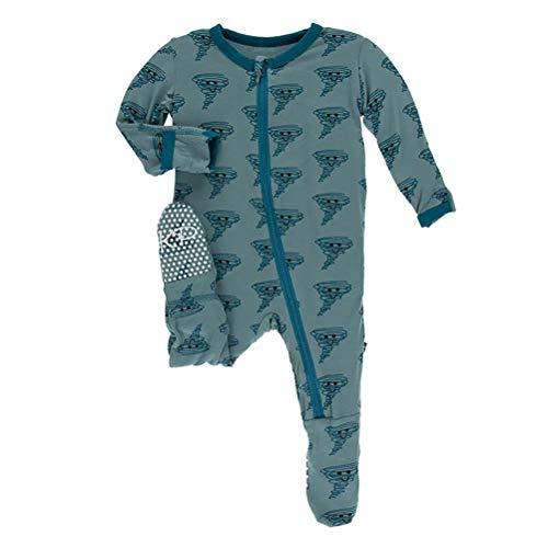 Kickee Pants Little Boys Print Footie with Zipper - Dusty Sky Happy Tornado, Newborn