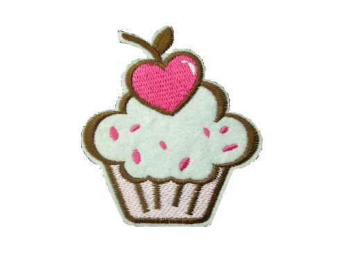 Cupcake Fabric (CUPCAKE Iron On Patch Fabric Cup Cake Applique Motif Children Decal 3.2 x 2.9 inches (8 x 7.3 cm))
