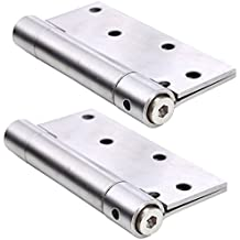 Ranbo commercial grade stainless steel ball bearing heavy duty spring loaded door butt hinge ,automatic closing/self closer/adjustable tension 4 X 3-1/2 inch brushed chrome( Pack of 2)thickness 2.4 mm