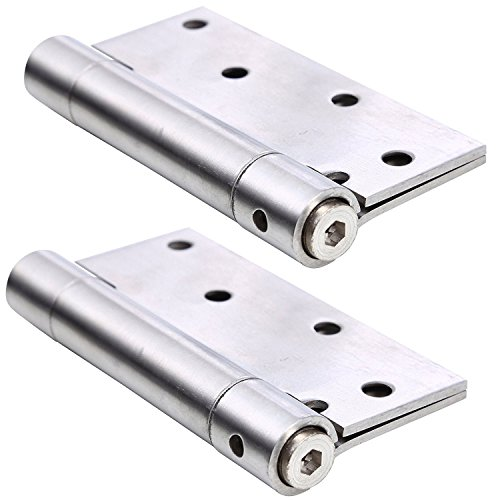 Ranbo Commercial Grade Stainless Steel Ball Bearing Heavy Duty Spring Loaded Door Butt Hinge,Automatic Closing/self Closer/Adjustable Tension 4 X 3-1/2 inch Brushed Chrome(1 Pair) Thickness 2.4 mm