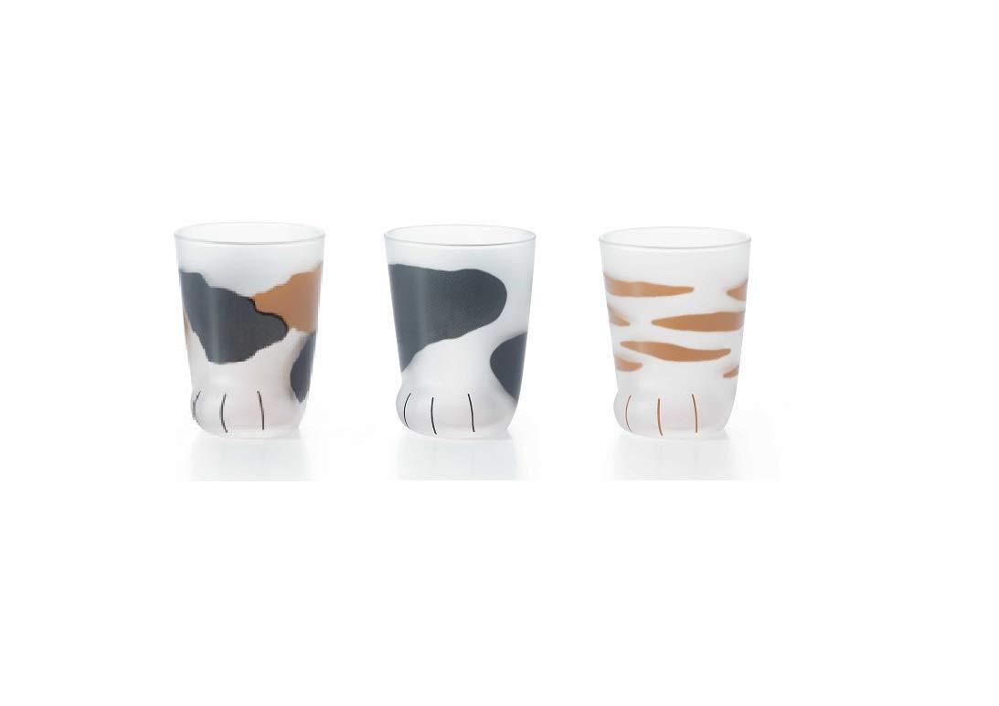 (3 Cups Set!!) Cat's Paw Glass (Children Cat Tiger,Tortoiseshell,Buchi) 6676 6677 6678 by Coconeco