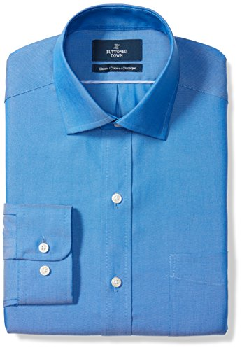 (BUTTONED DOWN Men's Classic Fit Spread-Collar Solid Non-Iron Dress Shirt (Pocket), French Blue, 16