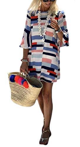 Contrast Blue Half Casual Jaycargogo Sexy Dress Short Womens Color Beach Sleeve Xwv6Ax6