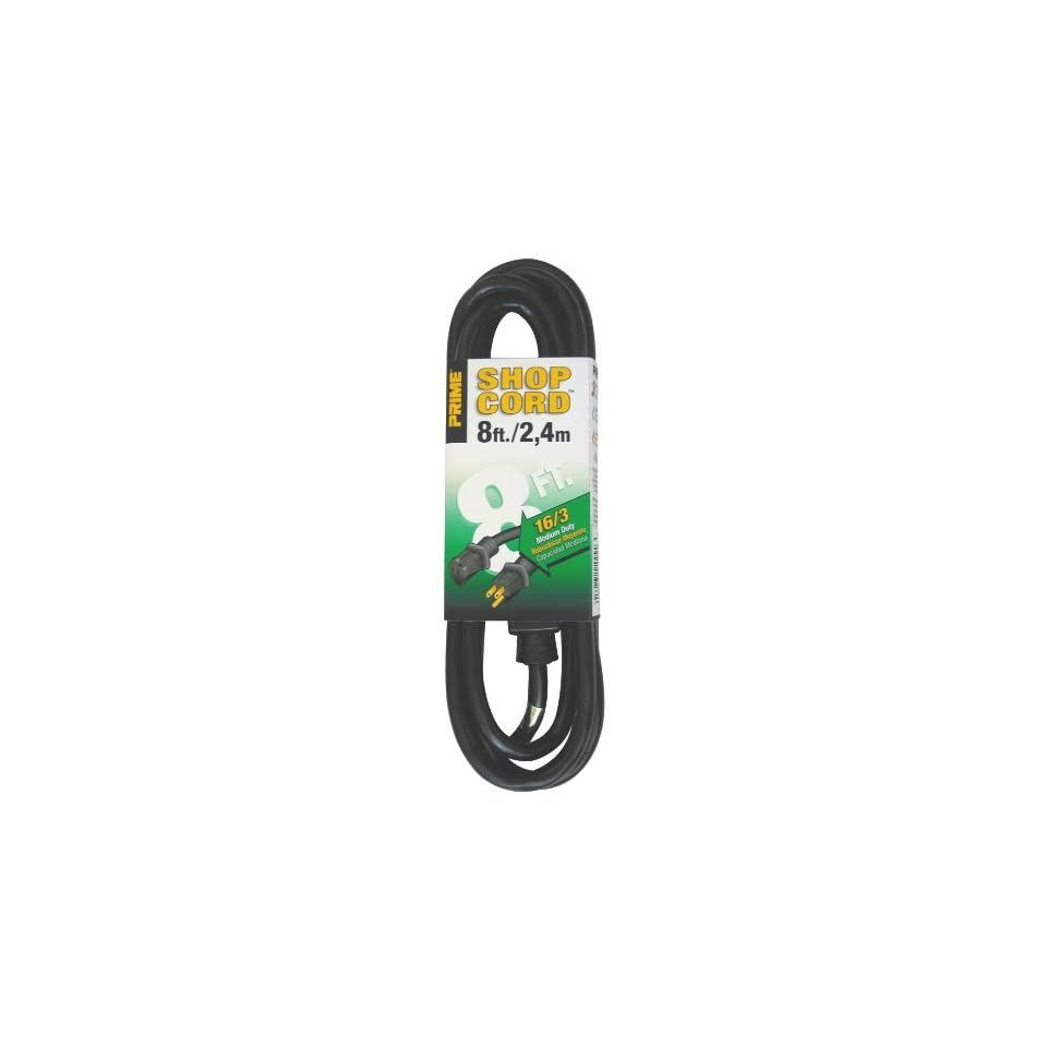 Prime Wire & Cable EC502608 8 Foot 16/3 SJTW Indoor and Outdoor Extension Cord, Black