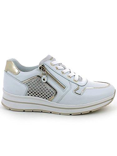 N Sneaker Brillantini Bianca 41 Giardini con Nero Pelle in 1BBw0