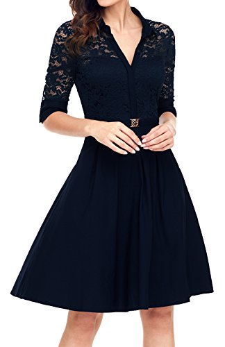 Angerella Women's Vintage Causal Dresses Navy Belted Style E