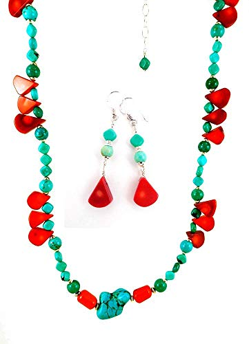 Turquoise and Red Coral Gemstone Beaded Long Necklace with Sterling Silver and Matching Earrings