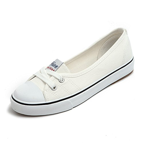 YING LAN Spring and Summer Leisure Shallow Mouth Canvas Shoe Foot Lazy Shoes Student Shoes A Pedal Flat Shoes White 36