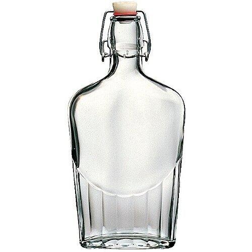 Bormioli Rocco Fiaschetta Glass 17 Ounce Pocket Flask, Set of 12