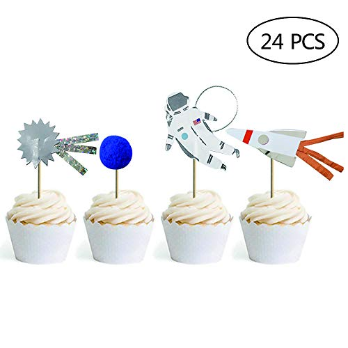 24 Pack Space Astronaut Cupcake Toppers Cake Decorations for Space Theme Party Kids Birthday Party Baby Shower]()