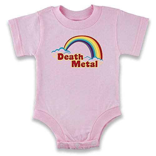Pop Threads Death Metal Retro Rainbow Baby Pink 6M Infant Bodysuit (Metal Heavy Clothing)