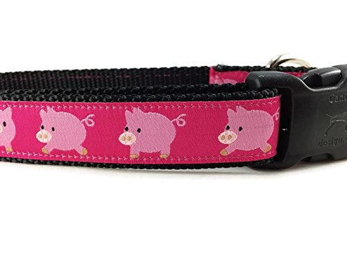 Large 15-22\ CANINEDESIGN QUALITY DOG COLLARS Farm Dog Collar, Caninedesign, Pigs, Sheep, 1 inch Wide, Adjustable, Nylon, Medium Large (Pigs, Large 15-22)