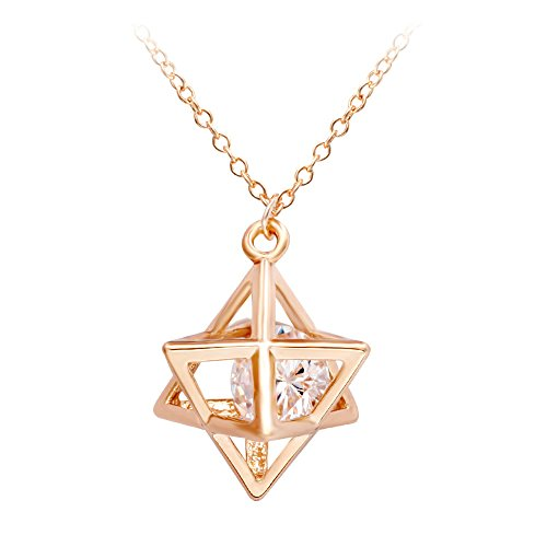 SENFAI Eight Pointed Star Pendant Necklace 3D Geometry Star with Crystal Necklace (Rose Gold)
