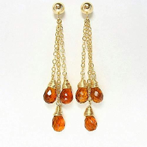 Madeira Citrine Dangle Post Earrings 14K Gold Filled ()