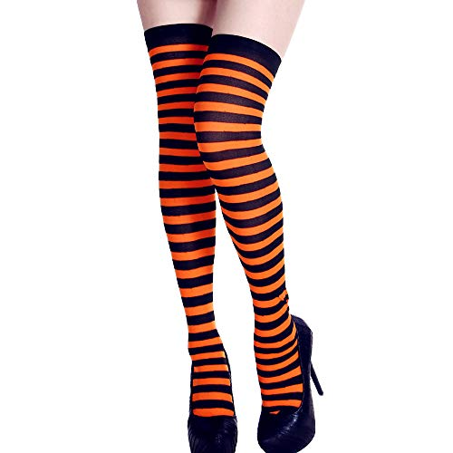 SUKEQ Women Rainbow Socks Long Tube Striped Over The Knee Thigh High Stocking Funny Dress Up Props for Halloween Party Costume (Orange) -