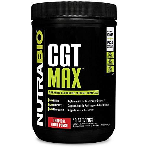 NutraBio CGT-MAX (Fruit Punch) - Creatine, Glutamine, and Taurine Powder