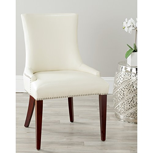 Safavieh Mercer Collection Eva Leather Dining Chair with Trim Nail Head, Cream (Cream Leather Dining Chairs And Table)