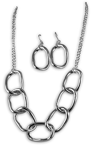Silver Tone Metal Oversize Links Necklace and Earring Set