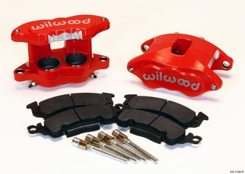NEW WILWOOD RED D52 BIG GM BRAKE CALIPERS & PADS, FRONT, 2 PISTONS, FOR 1.28