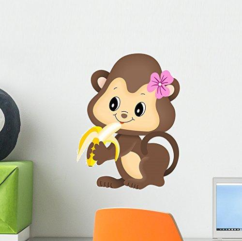 Peel Monkeys (Wallmonkeys Girl Monkey Eating Banana Wall Decal Peel and Stick Graphic (12 in H x 9 in W) WM51081)