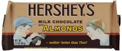 HERSHEY'S Chocolate Candy Bar with Almonds, Nostalgia Packaging, 3.5 Ounce (Pack of 24) -