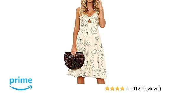 d95c1bc4e1 Amazon.com  FANCYINN Womens Floral Prints Tie Front Button Down Spaghetti  Strap Midi Dress  Clothing