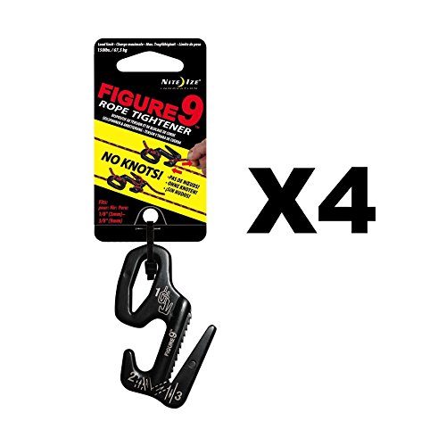 Nite Ize Figure 9 Rope Tightener Large Black Aluminum Tie Down Tool (4-Pack) by Nite Ize