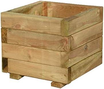 FKL – Jardinera de madera para jardín, terraza, caja de madera, macetero verde impregnado montado D23: Amazon.es: Jardín