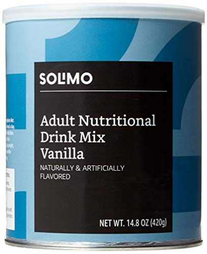 Amazon Brand - Solimo Adult Nutritional Drink Mix Powder, Meal Replacement, Vanilla Flavor, 14.8 Ounce, 7 Servings