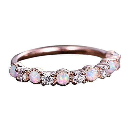 (Cathy Clara Fashion Simple Temperament Opal Rose Gold Rhinestone Ring Jewelry Silver Plated Crystal Rhinestone Elestic Stretch Ring Engagement Ring)