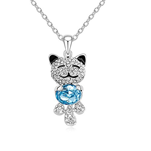 Carfeny Lucky Cat Pendant Necklace for Kids 925 Sterling Silver Chain Necklace for Girls from Swarovski Crystal Elements (Blue)