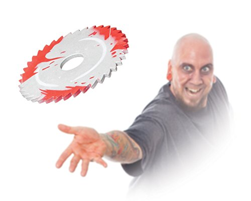 Morbid Enterprises Saw Blade Throwing Disc, Silver/Red, One Size