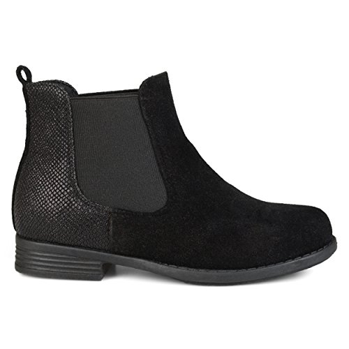 Embellished Metallic (Brinley Co Kids Toddler Little Kids Two-Tone Metallic Embellished Heel Faux Suede Chelsea Boots Black, 2 Regular US)