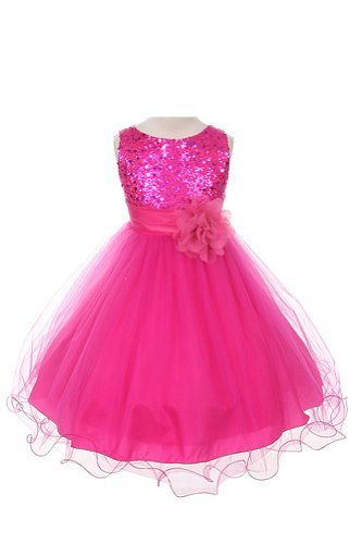 Sequin Bodice Tulle Special Occasion Holiday Flower Girl Dress - Fuchsia 13-14