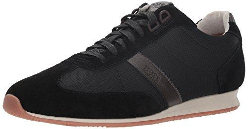 BOSS Hugo Orange Men's Orlando Low Suede Sneaker, Black, 43 M EU (10 US)