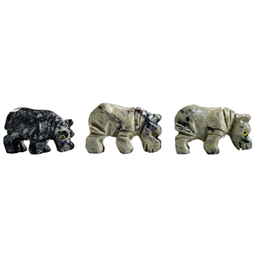 Hypnotic Gems Carvings: 10 pcs Hand Carved Hippo Collectable Animal Figurine - Beautiful Unique Stone Carvings for Gifts, Party Favors, Jewelry Making, and (Hand Carved Hippo)