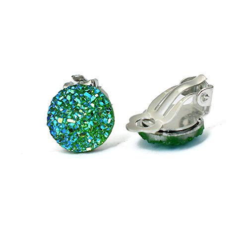 IndigoEarrings Iridescent Button Clip On Earrings (teal green)