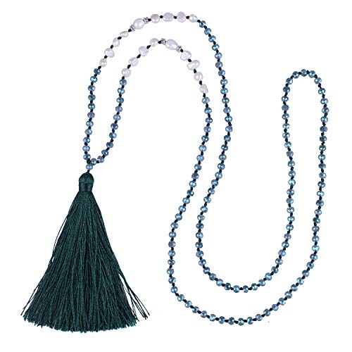 (KELITCH Long Tassel Necklace Handmade Shell Pearl Crystal Beads Necklace for Women (Deep Cool Green)