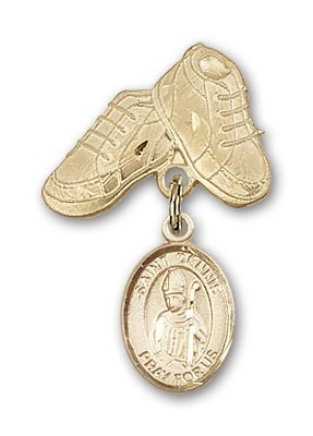 ReligiousObsession's 14K Gold Baby Badge with St. Dennis Charm and Baby Boots Pin