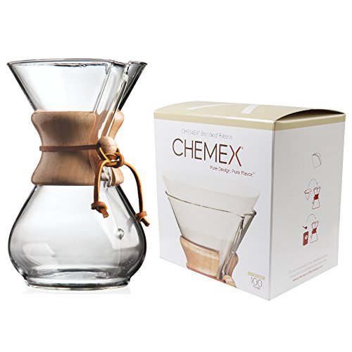 Chemex Classic Series, Pour-Over Glass Coffeemaker, 6-Cup with Chemex Bonded Circle Coffee Filters, 100 Count by Chemex