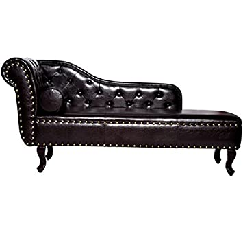 HOMCOM Deluxe Vintage Style Faux Leather Chaise Longue