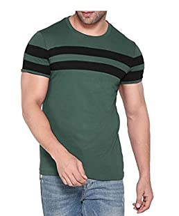Reoza Men's Cotton T Shirt Half Sleeves (Green, Medium)