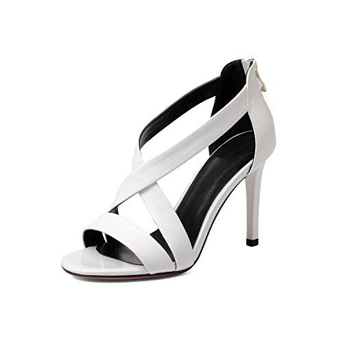 AJUNR Moda/elegante/Transpirable/Sandalias Sandals Rocío-toe delgado cinturón zapatos de mujer pescado blanco labios 9cm high heels 34 35